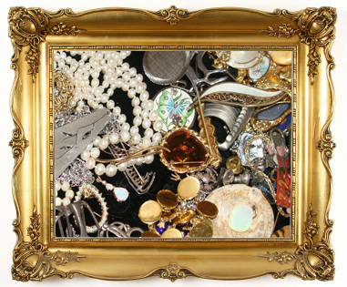 Bright and shiny objects in gold frame