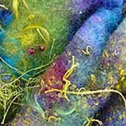 Colorful felt art with threads