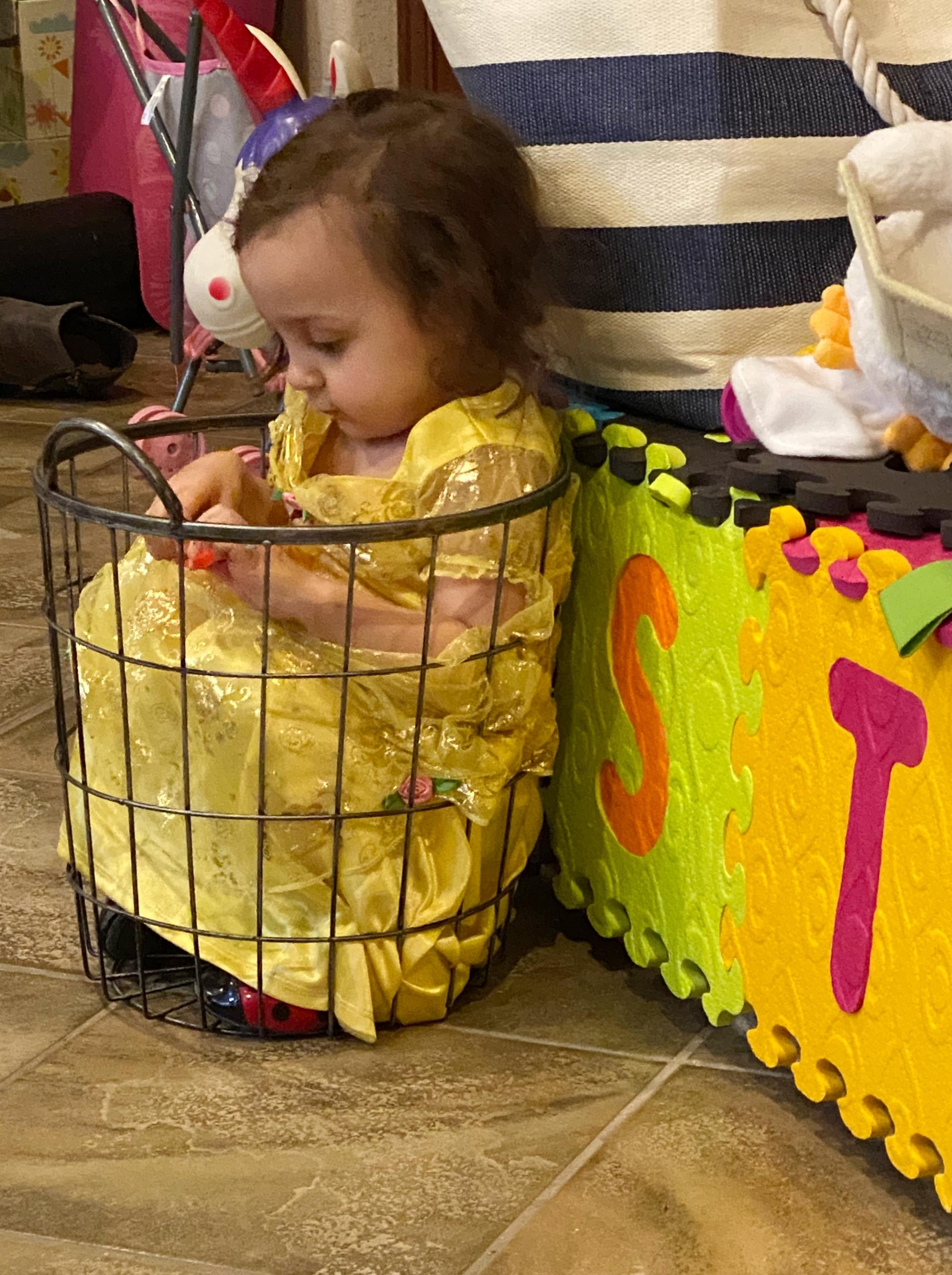Granddaughter in waste basket