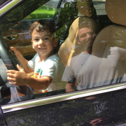 Boy in car