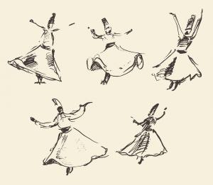 Sketch of whirling dervishes