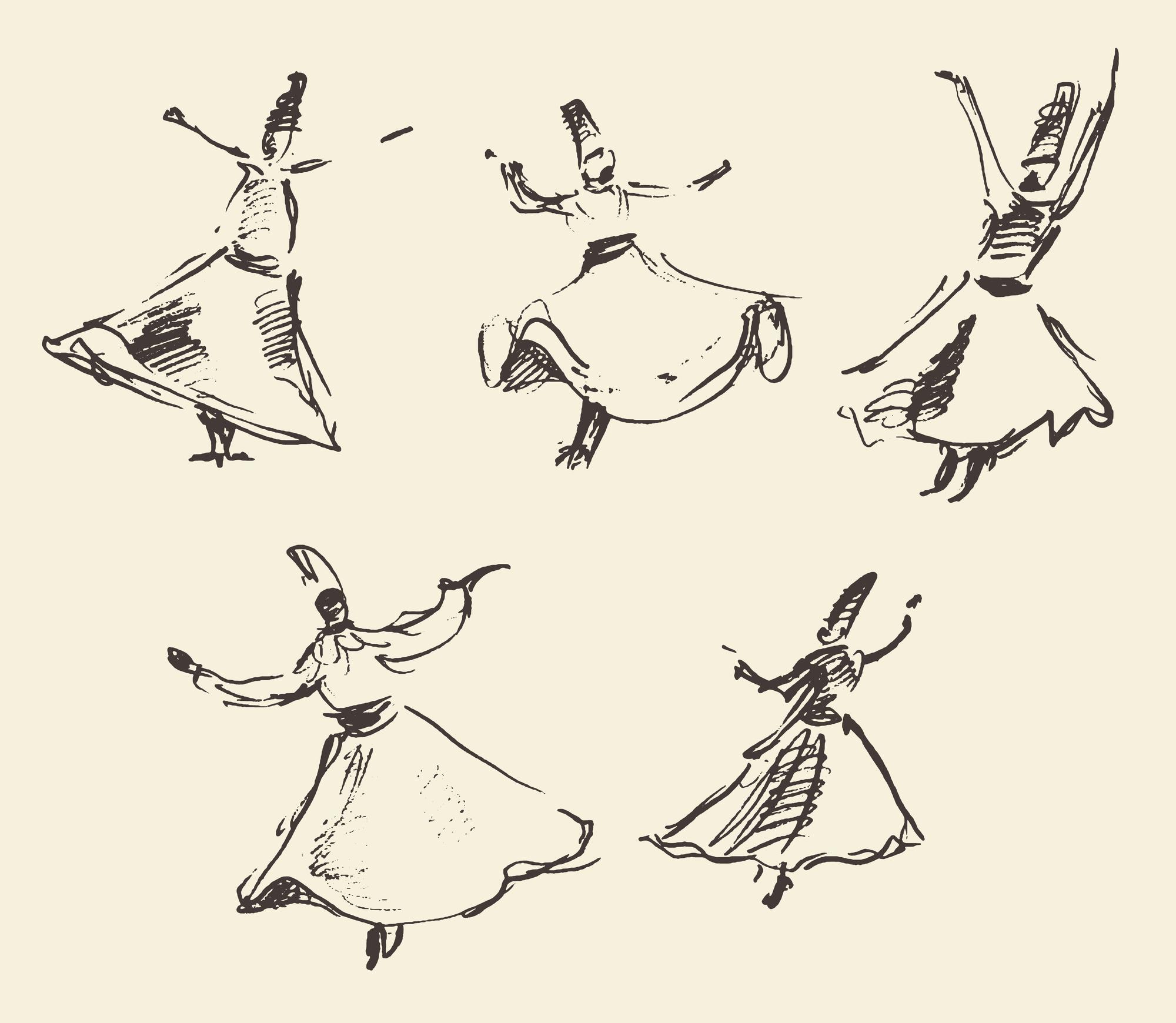 Whirling dervishes sketch