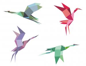 Crane and heron origami
